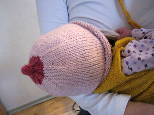 breastfeeding with hat